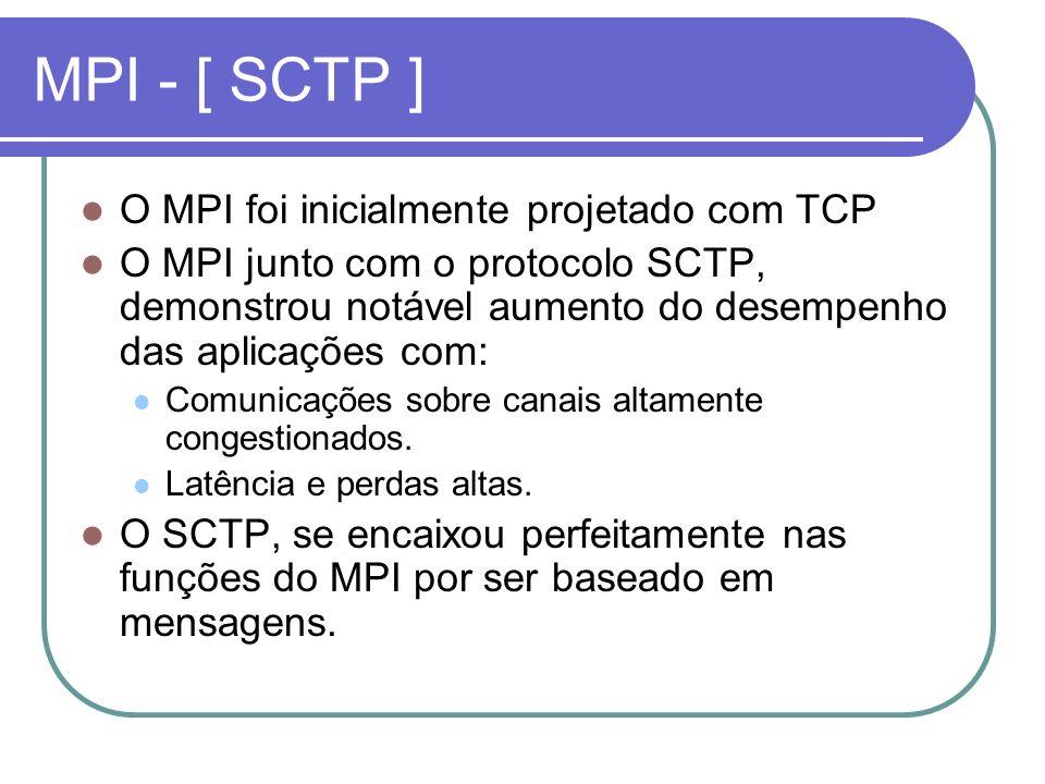 MPI - [ SCTP ] O MPI foi inicialmente projetado com TCP